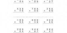 これまでに学んだ通常のたし算・ひき算の数式をベースに、位ごとに計算していく筆算の問題です。3けたの数のある問題で、より理解度を深めていきましょう。