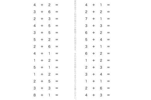 たし算の記号や式のよみ方、かき方を把握し、たし算という計算を体系的に学びます。演習問題を重ねることで、計算作業を理解していきます。