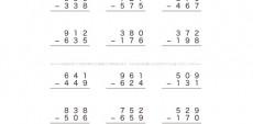 1けたや2けたでやった筆算の考え方をもとにして、3けたのひき算の筆算にチャレンジしていきます。くり下げる場合など、頭の中に数字を思い浮かべながら理解を深めていきましょう。