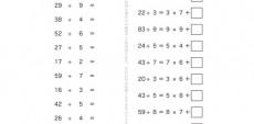 かけ算の九九を使って、わり算の意味や計算の仕方、0のわり算について学んでいきます。九九の表が頭に描けていれば、比較的簡単に答えが導き出せる単元問題となっています。